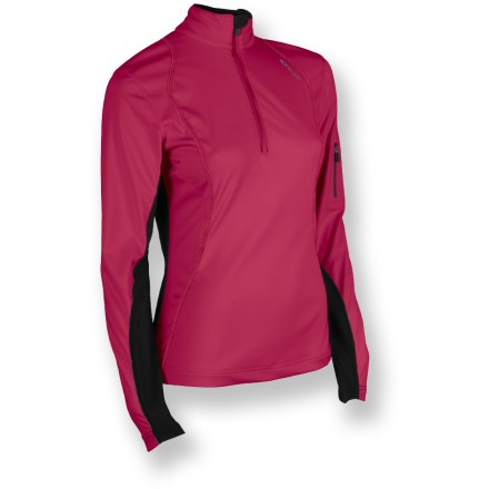 Fitness A winter essential for runners, this Sugoi Firewall 180 Zip top lets you focus on your workout instead of on the weather. Lightweight, stretch soft-shell fabric features a breathable polyurethane laminate to resist wind and water. Durable Water Repellent finish fends off light rain showers and snow. Moisture-wicking interior helps prevent clamminess. Stretch-knit sleeves provide a non-constricting fit. Thumbholes secure sleeves over hands for warmth. Zippered sleeve pocket holds ID, key or media player. Reflective accents on the Sugoi Firewall 180 Zip jacket help keep you visible. Pro fit offers a next-to-skin fit for excellent warmth retention. Closeout. - $36.83