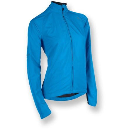 Fitness The RPM Thermal jacket from Sugoi outfits runners for workouts in varied conditions. Polyurethane-laminated double-layer polyester front blocks the wind; polyester/spandex blend back panel moves with you, and is breathable to keep you comfortable. Raglan sleeves allow unhindered shoulder movement. Zipper guard protects delicate skin. 1 zippered back pocket and 2 zippered front pockets. Closeout. - $39.83