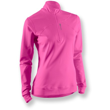 The Sugoi MidZero Zip top is ready for hard-charging workouts in less-than-ideal conditions. MidZero fabric is a full-stretch, moisture-wicking, midweight base layer fleeced on the inside for amazing comfort. 10 in. front zipper features a zipper guard to protect delicate skin. Hidden back zippered pocket is perfect for stashing small items. Flatlock seams offer flexibility and comfort. Closeout. - $16.73