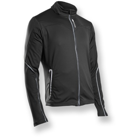 Fitness Perfect for winter rides or runs, the Sugoi Firewall 180 bike jacket offers stellar technical performance with a stretch thermal interior and water-resistant exterior. Stretch-knit, laminated polyester resists wind and water, and boasts ample stretch for free range of motion. Super lightweight hood stows away inside collar. Plush collar and soft draft flap guard against cold wind and zipper abrasion. Dual adjustable shockcord can be accessed from front pockets. Reflective elements on sleeves, pocket zippers and front zipper boost your visibility to motorists. Semifitted Sugoi Firewall 180 jacket is not too loose and not too tight. - $79.83