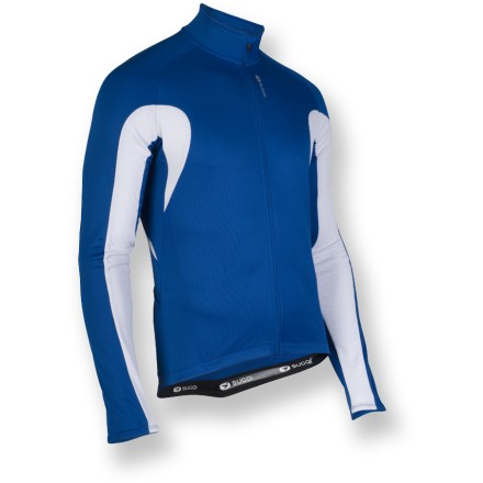 Fitness A warm winter essential, this Sugoi HotShot III bike jersey keeps you comfortable mile after mile. Fleece inner surface traps warmth inside, wicks away perspiration and dries quickly. Full-length zipper provides ventilation control; draft flap keeps out cold air, and a zipper garage prevents chafing. Elastic cuffs and droptail hem with elastic gripper keep Sugoi HotShot III jersey in place. 3 elasticized rear pockets expand to hold your riding essentials; slanted sides allow easy access. Semifitted design prevents fabric from flapping in wind. Closeout. - $39.83