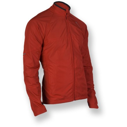 Fitness Designed for runners, the Sugoi RPM thermal jacket handles everything from trail traverses to in-town trots in cool weather. Wind-resistant, double-layer front panel keeps out chilly drafts. Raglan sleeves and a touch of spandex in fabric boost range of motion. Microfleece-lined collar adds comfort. 2 front zip pockets; 1 zip back pocket. Reflective hits on the Sugoi RPM Thermal jacket boost your visibility in dim light. Closeout. - $51.83