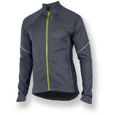 Fitness Designed for runners and cyclists alike, the Sugoi Firewall 220 Zip jacket features 3 layers of knitted fabrics that work together to keep you warm and dry. Windproof soft-shell fabric features a breathable polyurethane laminate to fend off weather. Durable Water Repellent finish fends off light rain showers and snow. Moisture-wicking interior helps prevent interior clamminess. Contoured, stretch-knit sleeves provide a non-constricting fit. Full front zipper lets you regulate interior temperature; zipper guard protects again chin abrasion. 2 front zippered pockets. Reflective accents on the Sugoi Firewall 220 Zip jacket help keep you visible. Pro fit offers a next-to-skin fit for excellent warmth retention. Closeout. - $35.73
