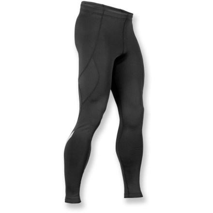 Fitness Sugoi SubZero Zap tights offer warmth and stretch, making them perfect for active endeavors in cold weather. SubZero, a stretchy polyester/spandex blend, offers warmth, moisture wicking and fast drying. Soft, brushed interior traps body warmth next to skin. Durable Water Repellent finish fends off light rain. Elastic waist with drawstring secures the fit. Locking ankle zippers offer easy on/off over footwear; elastic grippers at leg hems keep Sugoi SubZero Zap tights in place. Reflective hits boost your visibility to motorists in dim light. Inside waist pocket holds a key and your ID. Closeout. - $35.83