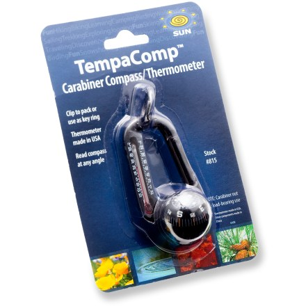 This funky, functional Sun Company TempaComp keychain features a thermometer, compass and carabiner, all in 1. - $10.00
