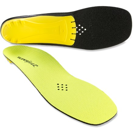 Fitness Superfeet Yellow premium insoles supply extra stability and support for use in performance shoes with elevated heels, such as road cycling shoes. - $27.93