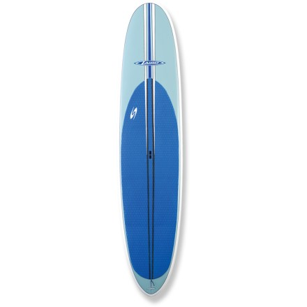 "Wake The Surftech Laird 12 ft. 1 in. stand up paddleboard offers stability and performance that makes it ideal for both long-distance trips and surging waves. Designed by shaping expert Bob Pearson while working closely with surfer Laird Hamilton, this board is perfect for novice stand up paddleboarders and seasoned experts alike. 12 ft. 1 in. length combined with a high volume and extra width offers a stable platform for all sizes of riders; board easily handles long-distance trips and waves. The Surftech Laird 12' 1"" stand up paddleboard offers several unique characteristics that makes it easy to enter waves, enjoy flatwater and maintain control in any situation. Narrow pintail is thinned down to provide tight, easy, flowing turns, and the center fin can be moved nearly in line with the side fins to enhance turning characteristics. Full nose width extends to mid-deck to enhance stability, and slight nose concave and relatively flat bottom under standing area enhances glide. Tapered foil of the nose and tail work with the low, thin rails to maximize performance in surf, and tail rocker makes the board loose and maneuverable when catching waves. High-quality, lightweight Tuflite epoxy board features a sandwich construction that provides the ultimate combination of performance and durability. At the heart of each board is a waterproof, fused-cell EPS core that's wrapped in fiberglass and laminated with high-quality epoxy resin. Core is then vacuum laminated with epoxy to a natural, high density cellulose composite, and then the final layer of fiberglass is added for a beautiful, eye-pleasing finish. The result is a board that offers years of performance, responsive handing and high durability. Center fin and 2 side fins promote straight tracking in the water; integrated deck pad provides exceptional grip and reduces foot fatigue. Handle makes transporting the 28 lb. Surftech Laird 12 ft. 1 in. - $1,546.93"