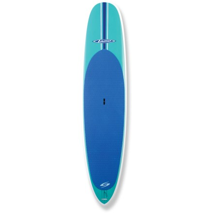 Wake Refined through expert design, the Surftech Laird 11 ft. stand-up paddleboard is the ideal tool to get in sync with your favorite waters. Designed by shaping expert Bob Pearson working closely professional surfer Laird Hamilton, this board is perfect for novice stand up paddleboarders and seasoned experts alike. 11 ft. length maneuvers easily in waves and tracks well when exploring flatwater; Surftech Laird 11 ft. is ideally suited to explore both flatwater and light surf. The Laird offers several unique design characteristics that make it easy to enter waves and maintain control in any situation. Narrow pintail is thinned down to provide tight, easy, flowing turns, and the center fin can be moved nearly in line with the side fins to enhance turning characteristics. Full nose width extends to mid-deck to enhance stability, and slight nose concave and relatively flat bottom under standing area enhance glide. Tapered foil of the nose and tail work with the low, thin rails to maximize performance in surf, and tail rocker makes the board loose and maneuverable when catching waves. High-quality, lightweight Tuflite epoxy board features a sandwich construction that provides the ultimate combination of performance and durability. At the heart of each board is a waterproof, fused-cell EPS core that's wrapped in fiberglass and laminated with high-quality epoxy resin. Core is then vacuum laminated with epoxy to a natural, high density cellulose composite, and then the final layer of fiberglass is added for a beautiful, eye-pleasing finish. The result is a board that offers years of performance, responsive handing and high durability. Center fin and 2 side fins promote straight tracking in the water; integrated deck pad provides exceptional grip and reduces foot fatigue. Handle makes transporting the 25 lb. 3 oz. paddleboard a breeze. - $1,520.93