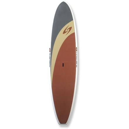Wake The Surftech Universal 12 ft. stand up paddleboard is ready to chase your endless summer. Designed by shaping expert Randy French, this board is designed for stability and glide and is a great choice for flatwater touring and light surf. Very high volume and 240 lb. capacity makes this board an excellent choice for large paddlers. Full rails and a wide platform enhance stability. High-quality, pressure-molded EPS core is watertight; should you ding your board, water will not enter and weigh the board down as it might with cores of lesser quality. Waterproof EPS core is encased in multiple layers of fiberglass and high-quality epoxy resin to create a lightweight, highly responsive board; EPS core is fully recyclable. In addition to ensuring a comfortable experience underfoot, integrated Softop EVA deck offers reliable wax-free traction when paddling in the standing or kneeling position. Single center fin promotes straight tracking in the water. Center handle makes transporting the 42 lb. Universal 12 ft. paddleboard a breeze. - $938.93
