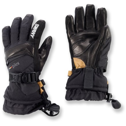 The waterproof and breathable Swany X-Change Jr. gloves offer insulated performance that will have snow-happy kids laughing at the elements. Rugged nylon shells with leather/vinyl palms protect hands and offer outstanding grip and flexibility. Waterproof, breathable Hipora(R) II inserts keep hands dry and comfortable. Polyester insulation is thicker on the back of the hand, thinner on the palms and stretchy on the sidewalls, all to deliver optimal warmth. Anatomically curved construction promotes comfort and flexibility. Pockets with locking, water-resistant zippers are perfect for handwarmer heat packs (sold separately). The Swany X-Change Jr. gloves feature over-the-cuff gauntlets with leashes and quick-release straps to enhance protection and comfort. - $60.00