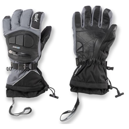 Ski Built to last, Swix Top Dog gloves offer style, carefully designed details and quality materials-perfect for extreme skiing, freeriding and other recreational snow sports. Soft-shell and smooth grain leather outer shell features Aqua-Shield(TM) water repellency treatment and a Gore-Tex(R) waterproof breathable insert. Dura-Last(TM) smooth grain leather palms offer durability and flexibility, even in extreme cold. Keep your hands toasty with Dupont ComforMax(TM) Premium insulation. The Swix Top Dog gloves feature gauntlet cuffs with pull cords and cinch locks, pockets/vents with burly YKK zippers, elastic glove leashes and rolled finger caps. - $76.93