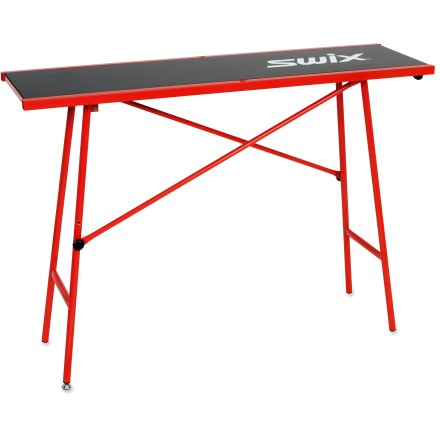 Ski Take your work bench with you for trackside tune-ups with this portable Swix waxing table. The single  adjustment leg lets you level the table on uneven surfaces. - $150.00