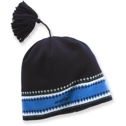 Ski The Swix Anders winter hat celebrates all things Nordic. Beautiful blend of wool and acrylic makes this hat exceptionally soft and warm. Polypropylene lining is soft against skin, and moisture wicking for all-day comfort. Closeout. - $14.83