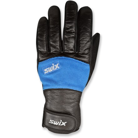 Ski Head out on your Nordic skis and keep your fingers warm with the Swix AP gloves. Leather and spandex fabric delivers great protection against the wind and cold; soft polyester tricot lining for extra warmth. Thinsulate(TM) polyester insulation supplies non-bulky warmth and comfort even when damp. Synthetic microfleece thumbs are perfect for wiping your nose. Amara leather palms offer a secure grip on ski poles. Rip-and-stick cuffs seal out the cold. Closeout. - $29.93