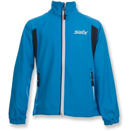 The Swix Cruising jacket offers wind-blocking performance and great breathability to keep girls comfortable when cruising through chilly temps. Polyester fabric on front of jacket and tops of arms blocks wind and is highly breathable; Durable Water Repellent finish causes water to bead up and roll off. Polyester/elastane side panels are lightweight and breathable, and offer excellent range of motion. Mesh lining helps wick moisture away from the body to enhance comfort. 2 zippered hand pockets offer easy access to essentials such as energy gels and lip balm. The Swix Cruising jacket includes reflective detailing that increases your visibility in low light. - $39.83