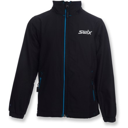 The Swix Cruising Plus jacket for girls combines warm microfiber with breathable performance to keep them comfortable when cruising through chilly snowscapes. Microfiber polyester fabric on front of jacket and tops of arms is warm and highly breathable. Brushed mesh lining adds warmth and helps wick moisture away from the body to enhance comfort. 2 zippered hand pockets offer easy access to essentials such as energy gels and lip balm. The Swix Cruising Plus jacket includes reflective detailing that increases visibility in low light. - $44.83