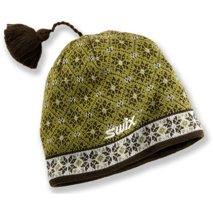 Ski The Swix Natalie hat is ready for cold-weather adventures. Wool and acrylic blend supplies the best attributes of both: the natural warmth and durability of wool and the easy care and softness of acrylic. Closeout. - $14.83