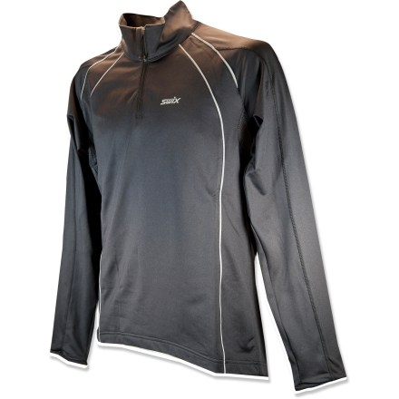 Ski The Swix Oslo top offers comfort and moisture-wicking performance for demanding XC workouts or casual pursuits alike. Polyester/spandex fabric with brushed backing ensures excellent moisture management, keeping you comfortable even when the pace kicks up. Flatlock seams maximize motion and minimize abrasion. Closeout. - $49.73