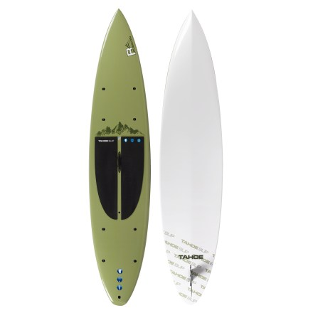 Wake The Tahoe Rubicon LT 12 stand up paddleboard combines the stability of a large, high-volume board with a flatwater touring design. Besides providing a new way to get on the water, paddleboarding develops core muscles and balance-it's the perfect training activity for surfers, skiers and paddlers. Full displacement hull glides easily and reduces fatigue over long distances thanks to a double-concave design. Double concave starts at the nose and gradually flattens toward the tail. Hard rails at the tail of the board enhance maneuverability when turning, and soft rails at the nose support stability and glide. Durable, high-quality construction offers excellent flotation. Features an expanded polystyrene core wrapped in an internal layer of fiberglass/epoxy resin, 3mm PVC sheet, exterior fiberglass/epoxy resin and a surface coating. A PVC stringer runs down the center of the core to increase stiffness and responsiveness. Extremely stable 30 in. width offers an easy introduction to stand up paddleboarding. High-density, 0.25 in. foam pad offers high traction and comfort underfoot, making it easy to reposition your feet to execute tight turns. Multiple tie-down points secure dry bags, deck bags or other accessories. Soft carry handle at center of board eases the transport of the 31 lb. Tahoe Rubicon LT stand up paddleboard. - $1,273.93