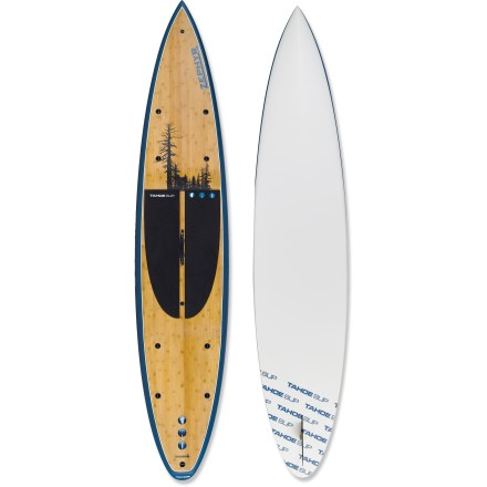 "Wake Grab your paddle, hop on the Tahoe Zephyr 12' 6"" stand up paddleboard and head out across the water. Besides providing a new way to get on the water, paddleboarding develops core muscles and balance-it's the perfect training activity for surfers, skiers and paddlers. Full displacement hull glides easily and reduces fatigue over long distances thanks to a double-concave design. Double concave starts at the nose and gradually flattens toward the tail. Extremely stable 29 in. width offers an easy introduction to stand up paddling. Durable, high-quality construction offers excellent flotation. Hand-crafted EPS epoxy and fiberglass composite is vacuum bagged to create an exceptionally light, strong board. Vacuum bagging eliminates excess resin and air by squeezing the resin into the fiberglass cloth. Bamboo deck increases durability of the Zephyr and looks great underfoot. High-density, 0.25 in. foam pad offers comfort underfoot and high traction. 8 tie-down points secure dry bags, deck bags or other accessories. Soft carry handle at center of board makes transport to the water a breeze. - $1,528.93"