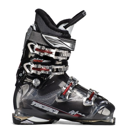 Ski Striking a relaxed balance between comfort and performance, the Tecnica Phoenix 120 HVL ski boots provide a perfect fit for skiers with wide feet. Featuring roomy 106mm footbeds, the Tecnica Phoenix 14 H.V.L.s also offer volume in the forefoot, instep and lower leg, ensuring a comfortable experience. Custom-moldable liners offer superior heel hold and foot envelopment; multiple densites of materials enhance fit, performance and comfort. Ribbed tongues enhance the feel of the ground during a turn thanks to their consistent flex. Neoprene toe boxes increase warmth in feet and absorb vibration. Soft faux-fur lining enhances warmth. Top 2 cuff catches are easily moved to fit varying leg shapes; catches have a whopping 44mm range-22mm forward and 22mm back. 35mm rip-and-stick power strap provides effective cuff closure and efficient energy transmission as the skier works the boot forward. Adjustable rear spoiler attaches with a rip-and-stick tab and can be removed completely. Cuff alignment matches the angle of the cuff with the shape of the lower leg, increasing comfort and performance. Bi-injected sole design does double duty, maximizing shock absorption and providing a nonslip surface. 2-position flex adjustment device works in conjunction with a modified hinge point and a specialized spine to personalize the rebound flex of the boot. Flex index of 120 responds quickly in a forward lean without the heavy back pressure that leads to early fatigue: it's perfect for progressing intermediate skiers. 106mm footbed fits E - EEE width feet. - $444.93
