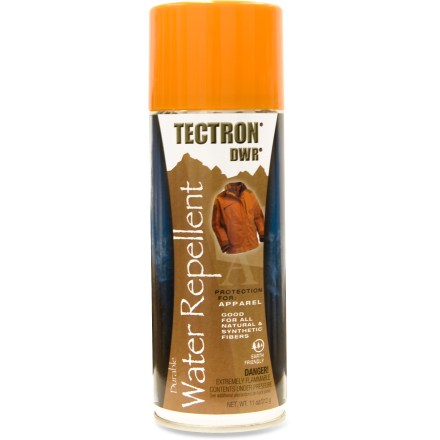 Ski Tectron Water Repellent Spray for Apparel offers maximized water repellency for your garments and gear. Protects your apparel's natural and synthetic materials from water, salt and stains; protects up to 50 sq. ft. of fabric. Safe on Gore-Tex(R) fabric and other waterproof, breathable fabrics. Contains UV sunscreen to reduce fading, drying and cracking caused by sunlight. Non-toxic and odorless when dry, it will not change the feel, color or breathability of your garments. Tectron Water Repellent Spray for Apparel contains no silicone, freon or CFCs; steel container can be recycled. For use on jackets, outerwear, clothing, ski/snowboard apparel, gloves, hats, tents, tarps, sleeping bags, backpacks, maps, ropes, canvas covers and more. - $10.00