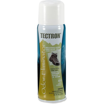 Tectron Odor Eliminator is designed to eliminate, not cover up, odors from boots, shoes and other items such as bags and gear. Made of a proprietary blend of aldehyde keytones to neutralize odor molecules instead of covering them up. For best performance, pre-clean surface before spraying with Tectron Odor Eliminator. For use on pre-cleaned, hard, nonporous surfaces; not for use on humans or animals. - $6.00