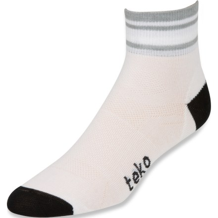 Fitness The Teko tekoPOLY Ultralight mini crew socks for men feature a performance fit perfect for running, biking and other active pursuits. tekoPOLY recycled polyester/nylon/spandex blend fabric is lightweight, moisture wicking and quick drying-perfect for hot and humid environments. Comfort stretch zones conform to the shape of your foot. Thin fit with no cushioning. Reinforced toes and Y-heels for durability. Seamless toes. Closeout. - $6.83
