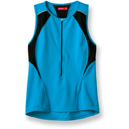 Fitness Whether you're preparing for your first Tri or you're a seasoned competitor, you'll love the fit and function of the Terry Tri Sleeveless jersey. Polyamide/elastane blend fabric dries quickly for sustained comfort; fabric offers 50+ UPF protection. Extended front zipper offers easy ventilation. Shirt features 2 rear stash pockets and 1 rear zippered pocket. Closeout. - $31.83