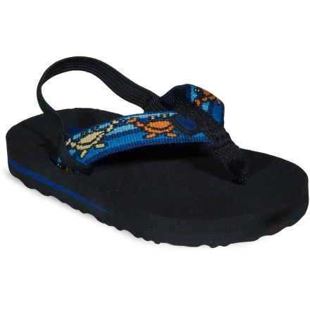 Entertainment Adorable Teva Mush flip-flops will have even the littlest feet kickin' in style, or just hang them from the rearview mirror of your surfmobile. Soft nylon tubular webbing uppers gently wrap insteps for a secure fit; heel straps add security. Soft, Durapontex(R) EVA topsoles/midsoles supply plush cushioning and shock absorption. Molded EVA outsoles with low-profile tread deliver positive traction on all types of surfaces. - $7.83