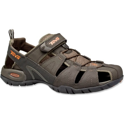 Entertainment Teva Dozer III sandals sit somewhere between a hiking shoe and an outright sandal, offering multisport, hybrid performance from the trail to the surf. Tough synthetic leather/nylon mesh uppers are sculpted for ample foot and toe protection; multiple openings in uppers facilitate quick draining of water. Elastic pull cords and rip-and-stick instep straps supply a fast, easy and secure fit. Microban zinc helps control odors without washing off or wearing away over time. Soft, compression-molded EVA midsoles with embedded Shoc Pad(TM) in heels supply all-day cushioning and shock absorption. Teva Dozer III sandals' rubber outsoles offer durable, lasting traction whether you're walking on wet rocks or dry sidewalks. - $51.93