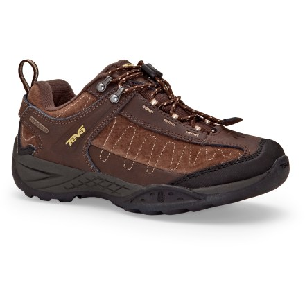 Camp and Hike Teva Raith Waterproof multisport shoes keep in step with explorative kids, offering waterproof protection and lasting leather uppers for great all-around performance. Leather uppers offer durable protection; pull-cord lacing supplies a quick, easy fit and secures with cordlocks. Waterproof, breathable membranes protect feet from the elements. Polyester mesh linings wick perspiration away from feet for enhanced comfort. Compression-molded EVA midsoles supply all-day cushioning and shock absorption. Versatile outsoles on the kids' Teva Raith Waterproof multisport shoes feature multidirectional lugs and long-lasting rubber for durable traction. - $31.83