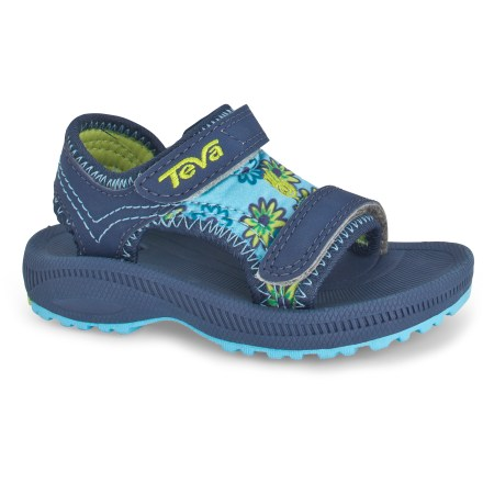 Entertainment Teva Psyclone 2 Print sandals deliver great all-around performance and comfort for adventurous toddler girls. Durable synthetic leather and comfy, water-friendly neoprene uppers protect feet while the open toes, sides and heels allow water to flow freely from shoes. Rip-and-stick instep and forefoot straps offer convenient entry and a comfortable, secure fit. Polyester mesh linings help wick moisture away from feet and dry quickly. Microban(R) zinc-based antimicrobial treatment deters odors. Soft, compression-molded EVA midsoles with encapsulated Shoc Pad(TM) units in heels absorb shock and offer cushy comfort. Teva Psyclone 2 Print sandals have long-lasting rubber outsoles for all-around traction on a variety of surfaces. - $15.83