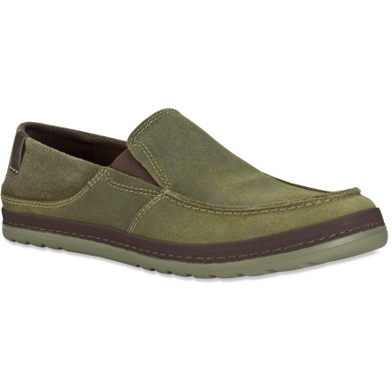 Surf Teva Clifton Creek slip-on shoes offer casual style and all-day comfort for padding around, whether in town or at the lodge. Supple suede leather uppers exude style and offer resilient performance; elastic gores supply slip-on convenience and comfort. Polyester mesh linings work to wick moisture away from feet. Removable EVA insoles act as the midsoles and deliver plenty of cushioning underfoot. Rubber outsoles on the Teva Clifton Creek slip-on shoes are designed to supply long-lasting traction for everyday wear. - $48.93