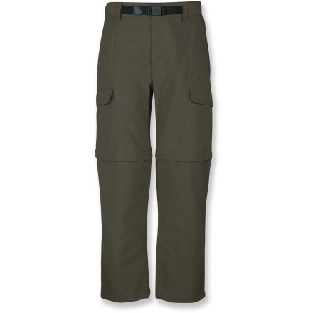 Camp and Hike The Paramount Peak convertible pants from The North Face have been updated to include improved durability, expanded carrying capacity and a more modern look. Adapt your comfort to changing weather with the zip-off pant legs to create shorts with a 10 in. inseam; extended ankle zippers let you slip the legs off easily over boots. Color-coded convertible zippers help you quickly transition from shorts to pants. Midweight, abrasion-resistant nylon fabric features a Durable Water Repellent finish that causes water to bead up and roll off; fabric dries quickly. With a UPF 30 rating, fabric provides very good protection against harmful ultraviolet rays. Cargo pockets are rotated around to the side and are sized to secure trail and travel essentials; large-capacity rear pockets hold a wallet, passport and travel documents. Front slash pockets provide additional storage; zippered pocket near the right hand pocket stashes spare change and small valuables. Partial elastic waistband includes belt loops and a zippered fly; included webbing belt lets you fine-tune the fit. Gusseted crotch allows unrestricted range of motion. - $37.83