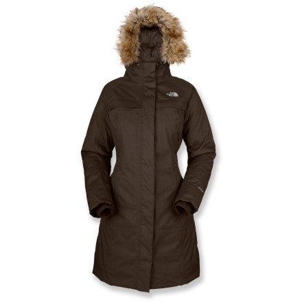 The North Face Arctic II down parka combines weather resistance with the full-length protection of a trench coat. Nylon herringbone shell fabric is soft to the touch and resists abrasion; seams are sealed for complete weather protection. Hyvent(TM) multilayer polyurethane coating provides waterproof protection, breathability and durability. Insulated with 550-fill-power goose down for a high warmth-to-weight ratio. Polyester taffeta lining slides on easily over layers and wicks away moisture to keep you dry. Insulated hood sports a sassy (and detachable) faux-fur trim; hood drawcord secures the fit. 2-way center front zipper; attached internal fleece cuffs seal in warmth. The North Face Arctic II parka has 2 zippered handwarmer pockets, 2 top-entry chest pockets and an internal media pocket. - $230.93