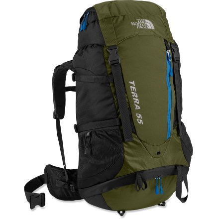Camp and Hike The North Face Terra Youth 55 pack is built with young first-time backpackers in mind. It features an adjustable suspension and plenty of room in an affordable package. Opti-Fit(TM) suspension features an adjustable fit for varying torso lengths. Dual-density padded shoulder straps and 3-point adjustable hipbelt distribute weight for comfortable, stable carrying. Stretched across the back, the open-air trampoline mesh Verti-Cool(TM) back panel lets air circulate between back and pack. Aluminum V-stays transfer load weight to the hips for comfortable carrying; polyethylene framesheet offers support and protection. Top-loading system with a mesh pocket in lid for stashing small essentials such as energy bars, sunglasses and sunblock. Zippered front stretch pocket holds other small items that you want within easy reach; stretch fabric allows maximum stuffing. Stretch-woven side pockets and an internal hydration pocket (reservoir sold separately) let you carry plenty of water. Bottom zippered compartment with an internal divider separates gear from sleeping bag; extended zipper provides easy access to sleeping bag compartment. Trekking pole loops, lash points and tool loops let you secure extra gear onto pack's exterior. Side compression straps let you cinch down loads for jostle-free carrying. Sternum strap adjusts vertically for comfort and features a buckle that doubles as a safety whistle. - $78.83