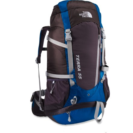 Camp and Hike With a bevy of features in an affordable package, The North Face Terra 55 women's pack is designed to accommodate long day hikes and overnight trips. Female-friendly features include narrow shoulder straps, small hipbelt and short torso length. Mesh Verti-cool(TM) back panel circulates air between back and pack. Dual-density padded shoulder straps and 3-point adjustable hipbelt distribute weight for comfortable, stable carrying. Aluminum V-stays transfer load weight to the waist for comfortable carrying; polyethylene framesheet provides support and protection. Front stretch pocket holds small items that you want within easy reach; stretch fabric allows maximum capacity. Top-loading system features a mesh pocket in lid for stashing small essentials such as energy bars, sunglasses and sunblock. Compression straps, trekking pole loops, lash points and tool loops let you secure extra gear to the pack's exterior. Stretch-woven side pockets, plus a hydration pocket (reservoir sold separately) let you carry plenty of water. Bottom zippered compartment with trampoline divider separates gear from sleeping bag. - $119.93