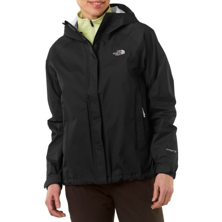 Venture out and explore in just about any weather with The North Face Venture women's jacket. This light and compressible jacket is engineered to withstand severe rain and styled for everyday use. The Venture jacket is a staple that every outdoor enthusiast will appreciate. HyVent(R) 2.5-layer fabric provides waterproof, highly breathable protection; a tri-component, multi-layer inner coating channels moisture outward away from body. HyVent is lightweight and packable, moves easily over layers and is more breathable than unlined, treated fabrics. All seams are sealed for complete protection. Fully adjustable brimmed hood protects your head from precipitation and allows good visibility; soft lining guards chin against abrasion. Rip-and-stick storm flap prevents weather penetration through the full-length front zipper. Pit zippers allow cooling airflow as your activity heats up. Hem drawcord and elastic cuffs with rip-and-stick closures seal out the weather. Zip hand pockets; jacket stows in left pocket. The Venture jacket's regular cut eases layering and slightly long length adds protection. - $99.00