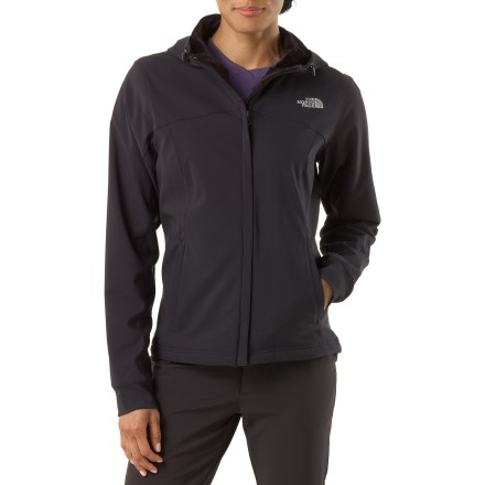 The North Face Maddie Raschel is a soft-shell jacket that's comfortable and cozy beyond belief. It's built for outdoor activities in inclement weather. Stretchy soft-shell fabric is highly wind resistant, breathable and water repellent; Durable Water Resistant finish is added to improve weather shedding ability. You'll love the silken fleece lining as soon as you slip your arms through it. Attached adjustable hood is also lined with fleece for extra warmth. Drawcord hem. 2 zippered hand pockets. - $103.93