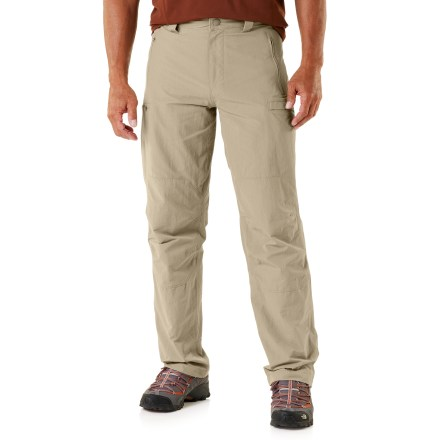 Camp and Hike From a short day hike to a weeklong trek in the mountains, The North Face Burke pants are built to take on encounters with rough rocks, muddy trails and quick rain showers. Nylon/elastane ripstop fabric stands up to the rigors of the trail; stretchy fabric eases movement and provides good comfort. With a UPF 30 rating, fabric provides very good protection against harmful ultraviolet rays. Fabric is treated with a Durable Water Repellent finish to repel moisture and stains. Waistband is lined with soft tricot for comfort next to skin. Gusseted crotch allows unrestricted range of motion. Zippered hand pockets, rear pockets and right thigh pocket secure your trail necessities; slip pocket on the left side keeps items easily accessible. The North Face Burke pants pack up and stow within the back right pocket for easy transportation. - $49.93