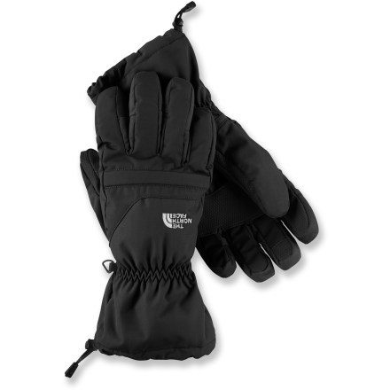 Let go of your worries with The North Face Etip Facet gloves. Premium insulation and waterproofing keep your digits warm and dry all winter long. HyVent(TM) 2L shells with waterproof, breathable inserts protect hands from the elements. 150g Heatseeker(TM) synthetic insulation offers a great warmth-to-weight ratio, and is compressible and durable. Radiametric Articulation(TM) improves warmth and blood flow to your fingers by mirroring their natural relaxed curve. Gloves are built from the inside out with a 5-dimensional design, using measurements from a single point on the heel of the hand to ensure a consistent fit. X-static(R) fabric on the thumbs and index fingers of removable liners allows you to work touch-sensitive devices such as cell phones and music players. Gaskets around cuffs of The North Face Etip Facet gloves lock out weather and offer a secure overlap with jacket sleeves. - $58.93