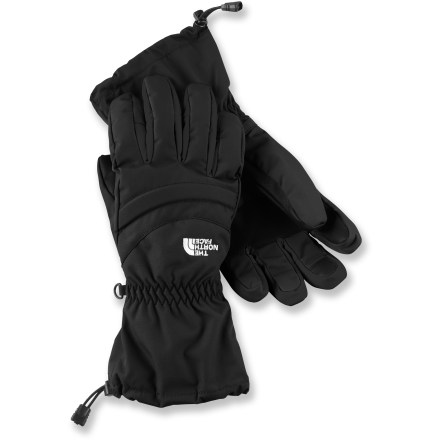 The North Face Etip Facet gloves prevent you from exposing your hands to the cold with waterproof shells, toasty insulating inserts and touch-screen-friendly liners. HyVent(TM) 2L shells with waterproof, breathable inserts protect hands from the elements. 200g Heatseeker(TM) synthetic insulation offers a great warmth-to-weight ratio, and is compressible and durable. Radiametric Articulation(TM) improves warmth and blood flow to your fingers by mirroring their natural relaxed curve. Gloves are built from the inside out with a women-specific 5-dimensional design, using measurements from a single point on the heel of the hand to ensure a consistent fit. X-static(R) fabric on the thumbs and index fingers of removable liners allows you to work touch-sensitive devices such as cell phones and music players. Gaskets around cuffs of The North Face Etip Facet gloves lock out weather and offer a secure overlap with jacket sleeves. - $41.83