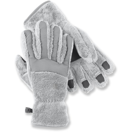 Camp and Hike Offering great warmth for cold-weather adventures, The North Face Denali Thermal gloves for women are made with heavyweight fleece and feature textured grip on the palms. High-loft polyester fleece provides excellent warmth. Taslan(R) nylon inserts across the knuckles and finger tops add durability. Polyurethane grips on the palms improve handling. 5 Dimensional Fit(TM) uses 5 measurements of the hand to construct gloves with an accurate and consistent fit. Internal elastic at wrists secures the fit of the Denali Thermal gloves from The North Face. - $23.93