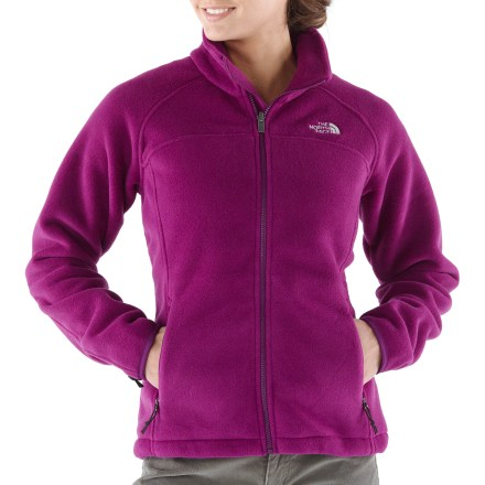 Camp and Hike The women's Pumori jacket from The North Face is ideal for anything from hiking to skiing to power lounging. Wear it as an outer layer or as a warm, insulating midlayer. Midweight Polartec(R) Classic 200 Series recycled fleece resists pilling and fading, breathes well, sheds light rain, continues to insulate when damp and dries quickly. Stand-up collar, stretch binding at cuffs and adjustable elastic drawcord hem seal in warmth. Zippered handwarmer pockets. The North Face Pumori has a standard fit. Zip-in integration feature lets you zip jacket into compatible shells and parkas from The North Face. - $68.93