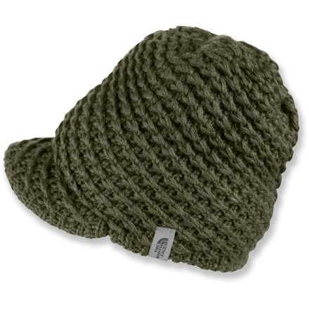Entertainment The North Face Chunky Knit Visor beanie not only delivers the warmth you need, it keeps snow and sun out of your eyes as well. Soft acrylic knit offers excellent warmth; it also breathes well when you're active and dries quickly when damp. - $28.00