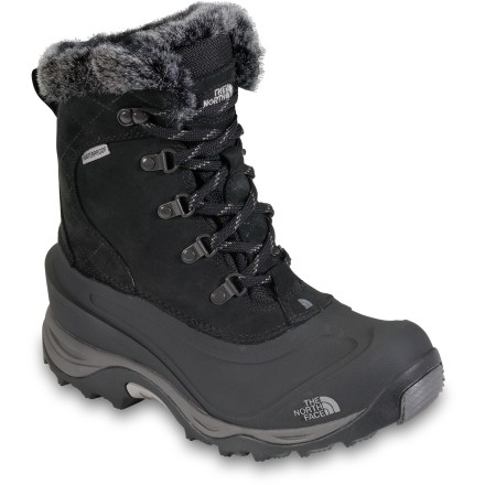 Camp and Hike The warm McMurdo II boots from The North Face don't let the threat of cold feet put a damper on winter fun. Toasty PrimaLoft(R) Eco insulation keeps your toes warm for all-day play in the snow. Durable nubuck leather uppers are waterproofed to keep feet dry and warm in snowy conditions. Faux fur collars fend off snow entry at cuffs-adhesive, double-latex sealed construction prevents seepage of water through seams. 400g PrimaLoft Eco fibers, a downlike insulation made from recycled synthetic fibers, provides incredible warmth with minimal weight. Fully lined with fleece to manage moisture and keep temperature regulated inside boots. Lace-up design features rustproof metal hardware; heel loops offer easy on and off. Thermal polyurethane outer shells offer durability, forefoot flexibility and complete water protection; heel welt keeps snowshoe straps in place. Compression-molded EVA midsoles cushion feet for all-day wear, while embedded nylon shanks create torsional rigidity and help support feet. Northotic(TM)+ dual-density footbeds feature soft heels and forefoot cushioning pads for maximum shock absorption. The North Face McMurdo II boots feature durable rubber outsoles with IcePick(R) temperature-sensitive lugs for increased traction on cold, icy surfaces. - $64.83