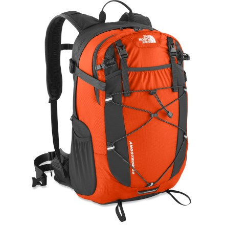 Camp and Hike The North Face Angstrom 30 pack offers an ultralight and versatile update to a fastpacking favorite. Launch your year-round, done-in-a-day adventure with this go-to pack! Dual-density air-mesh shoulder harness and stowable air-mesh hipbelt work in concert with a molded back panel that enhances ventilation and lumbar padding for comfort. Panel-loading main compartment contains a padded hydration sleeve (reservoir sold separately). Huge stretch-woven pocket on the front is perfect for raingear or other bulky stuffables. Stretch-woven side pockets hold water bottles (sold separately) or other often-used items. Built-in raincover stuffs into its own pocket when not in use. Sliding sternum strap features a safety whistle in the buckle. The North Face Angstrom 30 pack is made of durable ripstop Cordura(R) and ultralight 70-denier ripstop nylon. - $79.93