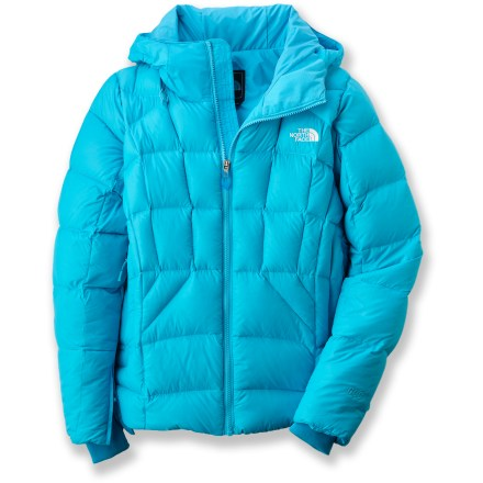 Ski The elegant women's Destiny down jacket from The North Face offers quilted coverage with the added boon of plush goose down insulation for an exceptionally warm performance piece. HyVent(R) water-resistant, breathable technology uses a multilayer polyurethane coating for weather protection and durability. Nylon shell fabric and slick recycled nylon taffeta lining envelop naturally warm goose down insulation. 600-fill-power goose down provides ample warmth; goose down is the lightest, warmest and most compressible insulation available. Adjustable, fixed hood cinches down to protect you in stormy weather. Features zippered handwarmer pockets, internal media pocket with cord routing and an internal goggles pouch; inside right hand pocket comes with goggles cloth. Adjustable hem and hidden rib-knit cuffs with zipper gusset closures block out cold air while retaining valuable warmth. Powder skirt keeps snow and cold air out; pant-a-lock attachment loops for coordinating snow pants (sold separately) create a seamless fit. The North Face Destiny down jacket features a buddy lift clip to keep your pass easily accessible in the lift line. - $230.00