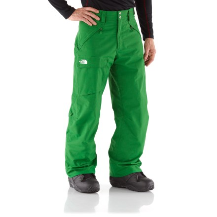 Ski The North Face Freedom insulated snow pants combine high-performing insulation with reliable waterproof protection, keeping you dry and warm from first run to last light. Quiet and abrasion-resistant HyVent(R) 2-layer coated nylon is completely waterproof, windproof and breathable; fully sealed seams prevent moisture seepage. 60g Heatseeker(TM) Eco insulation, 100% recycled polyester fibers, provides warmth that is extremely resilient, water repellent and hypoallergenic. Articulated knees aid in fit, allowing freedom of movement. Warmth is regulated by allowing cool, dry air to flow in through mesh gussets while upper thigh vents dump excess heat and moisture. Features zippered handwarmer pockets and a single, roomy cargo pocket. Rip-and-stick adjustment tabs at side of waist and zippered, snap-closure fly secure the fit. StretchVent(TM) gaiters with gripper elastic seal out snow around boots and retain warmth. Reinforced cuffs resist abrasion from boots, boards and skis. Buddy lift clip keeps your pass close at hand. Pant-a-lock system lets you connect The North Face Freedom insulated pants to compatible jackets (sold separately). - $111.93
